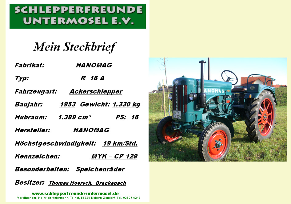 Hoersch Thom Hannomag R 16 A